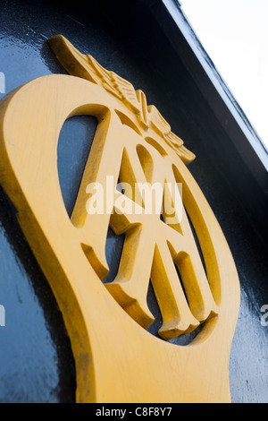 Automobile Association sign on on old AA box at the top of Porlock Hill, Somerset - Stock Photo
