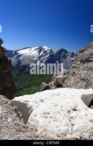 summer view of Mount Marmolada from Saas Pordoi, Italian Dolomites - Stock Photo