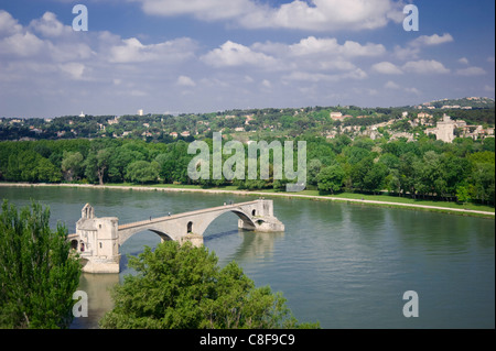 The Pont St. Benezet, UNESCO World Heritage Site, on the Rhone River in Avignon, Vaucluse, Provence, France - Stock Photo