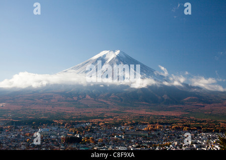 Japan, November, Asia, mountain Fuji, Fuji, mountain, snow, clouds, Asia, scenery, overview - Stock Photo