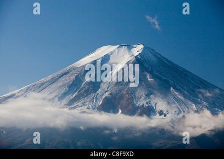 Japan, November, Asia, mountain Fuji, Fuji, mountain, snow, huge, scenery, clouds - Stock Photo