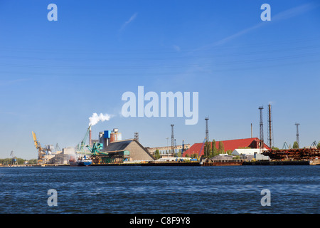 Industrial view at port of Gdansk, Poland. - Stock Photo