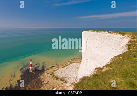 Beachy Head lighthouse, white chalk cliffs and English Channel, East Sussex, England, United Kingdom - Stock Photo