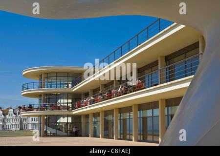 Outdoor stage for performances and exterior of the De La Warr Pavilion, Bexhill on Sea, East Sussex, England, United Kingdom
