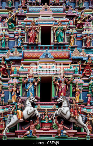 Malaysia, Asia, Kuala Lumpur, town, city, China Town, Indian Temple, detail, religion, figures, facade, horses - Stock Photo