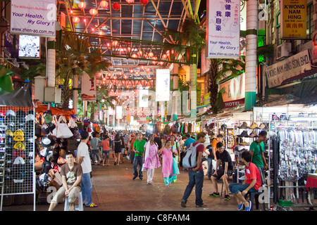 Malaysia, Asia, Kuala Lumpur, town, city, China Town, shopping street, shopping, persons, people, shopping, evening, - Stock Photo