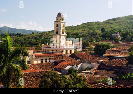 Bell tower of Museo Nacional de la Lucha Contra Bandidos, Trinidad, UNESCO World Heritage Site, Cuba, West Indies, - Stock Photo