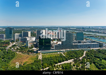 View from the Danube Tower to the Vienna International Center (VIC), commonly known as UNO City. Vienna, Austria - Stock Photo