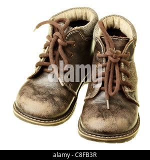Children's shoes isolated over the white background - Stock Photo