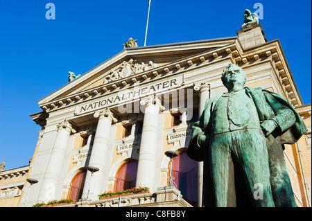 Statue of Bjornstjerne Martinius Bjornson, winner of 1903 Nobel Prize in Literature, National Theatre, Oslo, Norway, - Stock Photo