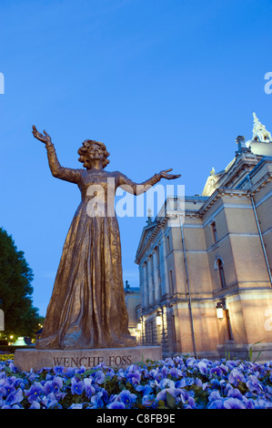 Statue of Wenche Foss outside the National Theatre, Oslo, Norway, Scandinavia - Stock Photo