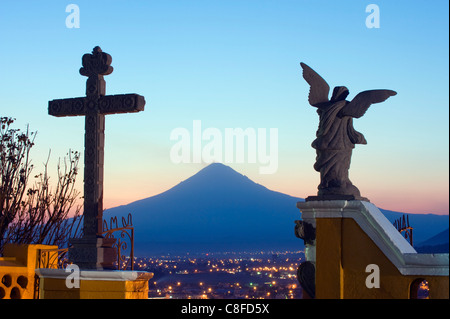 Santuario de Nuestra Senora de los Remedios and Volcan de Popocatepetl, 5452m, Cholula, Puebla state, Mexico North - Stock Photo