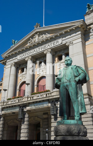 The statue of Bjornson, playwright, outside the National Theatre, Oslo, Norway, Scandinavia - Stock Photo
