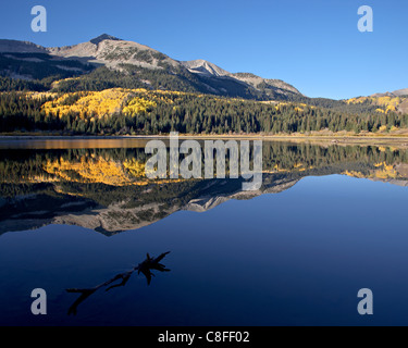 Lost Lake at dawn in the fall, Grand Mesa-Uncompahgre-Gunnison National Forest, Colorado, United States of America - Stock Photo