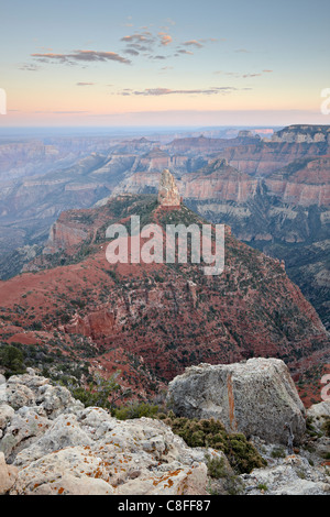 Mount Hayden at dusk from Point Imperial, North Rim, Grand Canyon National Park, UNESCO World Heritage Site, Arizona, - Stock Photo