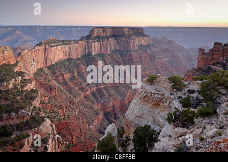 View from Cape Royal at dusk, North Rim, Grand Canyon National Park, UNESCO World Heritage Site, Arizona, USA - Stock Photo