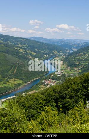 River Drina, Border of Serbia and Bosnia and Herzegovina - Stock Photo