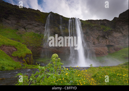 Seljalandsfoss on the south coast, west of Skogar, one of Iceland's most beautiful waterfalls, Iceland, Polar Regions - Stock Photo