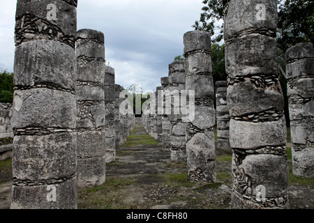 Columns in the Temple of a Thousand Warriors, Chichen Itza, UNESCO World Heritage Site, Yucatan, Mexico - Stock Photo