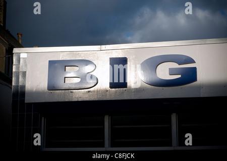 Big sign on shop hoarding,icon, illustration, imprint, ink, isolated, label, leader, mark, market, old, paper, paperwork,percent - Stock Photo