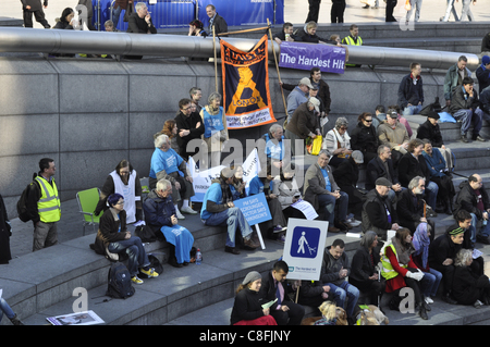 London, UK, 22/10/2011. Disabled people and their supporters outside City Hall in London UK attending the Hardest - Stock Photo