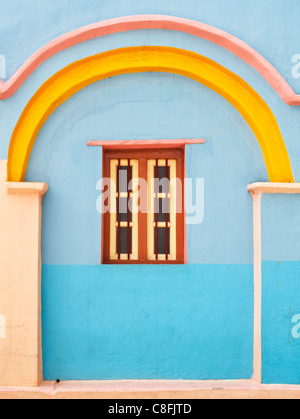 Colourful Blue and yellow Indian village house detail. Andhra Pradesh. India