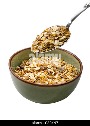 Bowl of muesli on white background - Stock Photo