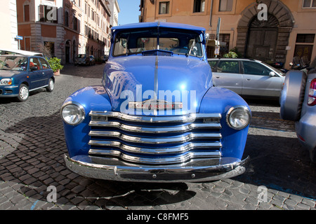 classic car old '1950 Chevrolet Pickup truck parked in Trastevere Rome Italy - Stock Photo