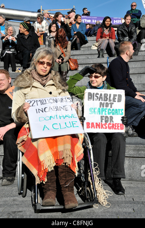 Welfare Reform Bill protest Wheelchair protesters at the Hardest Hit protest against benefit cuts for disabled people - Stock Photo