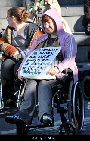 Welfare Reform Bill protest A Wheelchair protester at the The Hardest Hit protest against benefit cuts for disabled - Stock Photo