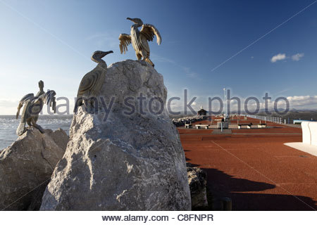 Bird sculpture and Stone Jetty Morecambe Lancashire England - Stock Photo