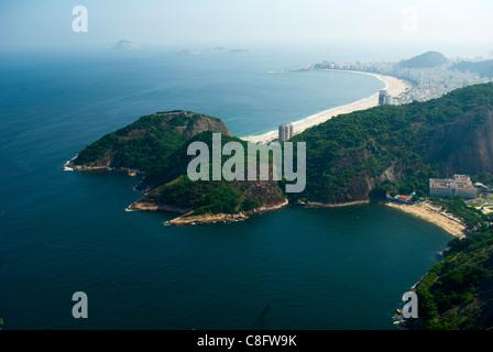 View of Vermelha Beach and Copacabana Beach beyond, from top of Sugar Loaf (Pāo de Acûcar). Rio de Janiero, Brazil - Stock Photo