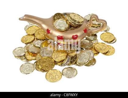Gold and red genie lamp full of gold coins - path included - Stock Photo