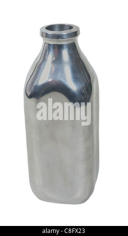 Retro style silver milk bottle used for delivering milk - path included - Stock Photo