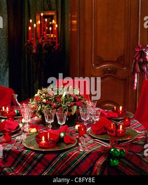 Christmas,table,setting,dining,dinner - Stock Photo