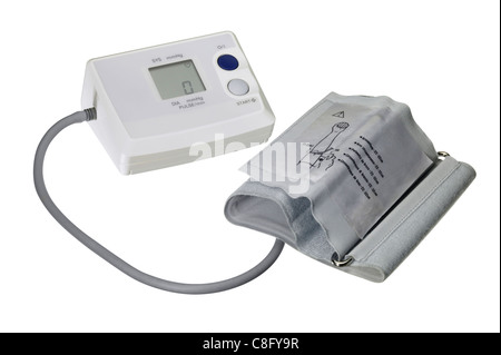 studio photography of a blood pressure meter isolated on white, with clipping path - Stock Photo