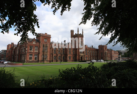 Queens University is pictured though the trees in Belfast, Northern Ireland - Stock Photo