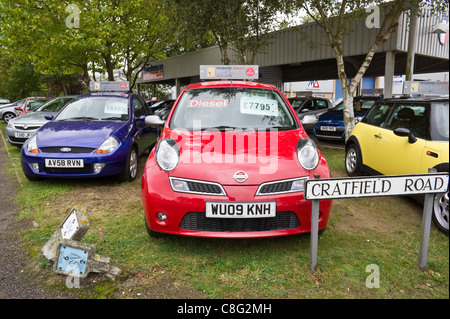 Used diesel Nissan Micra for sale at a car showroom in Bury St Edmunds, UK, 2011 - Stock Photo