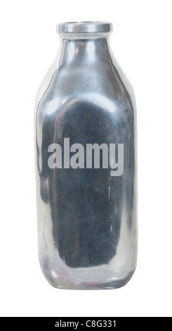 Retro style silver milk bottle used for delivering milk in profile - path included - Stock Photo