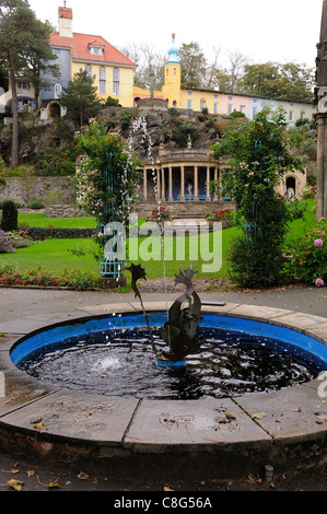 fountain in the Italianate village portmeirion gwynedd north wales uk - Stock Photo