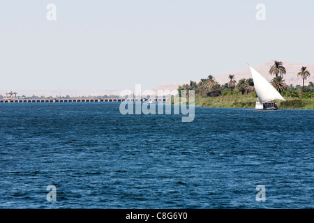 A dahabiya sailing on the river Nile Egypt, near the bank with palms, desert mountains and Esna barrage in the background - Stock Photo