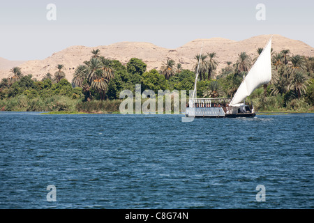A dahabiya sailing on the river Nile Egypt, near the bank with palms and desert mountains in the background - Stock Photo
