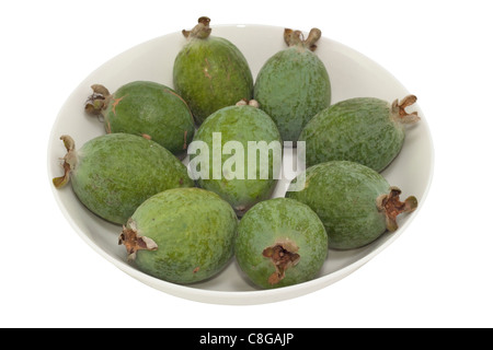 Feijoa Fruits (Pineapple Guava) sweet tropical fruit. Image is isolated on white background. - Stock Photo