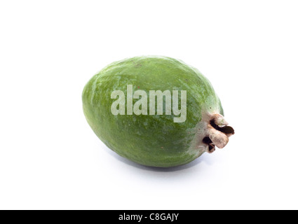 Feijoa Fruit (Pineapple Guava) sweet tropical fruit. Image is isolated on white background. - Stock Photo