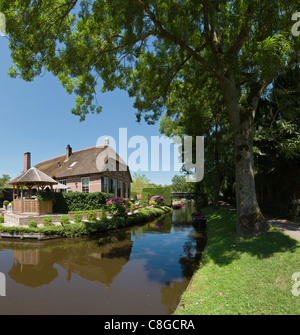 Netherlands, Europe, Holland, Overijssel, Giethoorn, Houses, canal, city, village, water, trees, summer, - Stock Photo