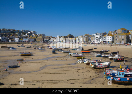 St Ives Cornwall England UK view across harbour of this busy Cornish seaside resort low tide - Stock Photo