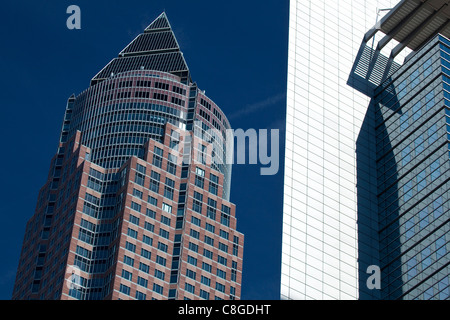 The Messeturm, the skyscraper symbol of the Fair Trade Area in Frankfurt am Main, Hesse, Germany - Stock Photo