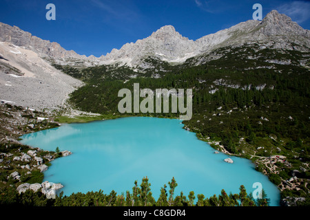 Glacial Sorapiss Lake, Dolomites, eastern Alps, Veneto, Italy - Stock Photo