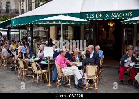 Les Deux Magots Cafe, Saint-Germain-des-Pres, Left Bank, Paris, France - Stock Photo