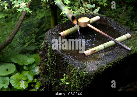 A tsukubai (stone water basin) with bamboo ladle in a garden at Sanzenin Temple in Ohara, Kyoto, Japan - Stock Photo